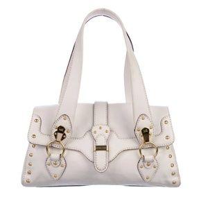 Michael Kors Cream Leather Studded Buckle Bag